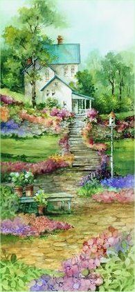 Summertime II ~ Carolyn Shore Wright wow so nice House Painting, Painting & Drawing, Watercolor Paintings, Dot Painting, Watercolour, Some Beautiful Pictures, China Painting, Cat Art, Watercolor Flowers