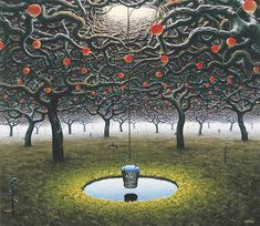 Jacek Yerka is a Polish surrealist artist of fantasy world and landscapes. His subject matter ranges from odd beasts to whimsical landscapes incorporating extraordinary architecture, and includes imagery gleaned from his childhood. Surrealism Painting, Pop Surrealism, Magritte, Art Magique, Critique D'art, Arte Tribal, Psy Art, Magic Realism, Surreal Art