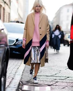 The Best Street Style From Milan Fashion Week// metallic silver skirt #spaceagestyle