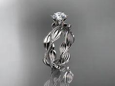 Unique Platinum   leaf and vine engagement ring,wedding band ADLR258 on Etsy, $1,275.00