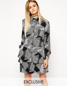 ASOS Reclaimed Vintage Shirt in Patched Mono Geo Print