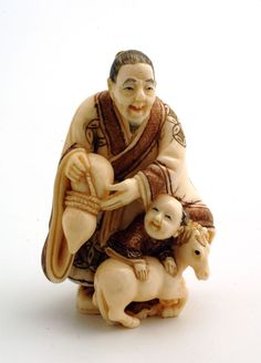 Mammoth Ivory Netsuke - Father son with Horse