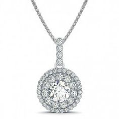 .88ctw Vintage Double Halo Round Diamond Pendant Necklace Setting in 14k White Gold