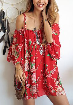 Model in floral red off-shoulder long blouse