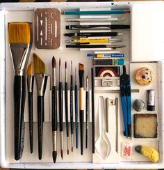 Art Tools of Paul Jackson Art Studio Room, Art Supplies Storage, Art Studio Organization, Photos Originales, Artist Aesthetic, Painting Tools, Dot Painting, Drawing Tools, Diy Canvas Art