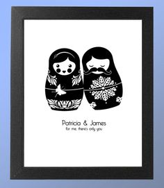 Russian Nesting Doll Couple Print- need this! Wooden Figurines, Matryoshka Doll, This Little Piggy, Save The Date Cards, Diy Gifts, Man Doll, Dolls, My Favorite Things, Tattoos