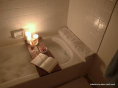 DIY Spa-like Bath Tub Caddy - This looks lovely!... I mean, the caddy is easily achieved with any wooden board, but the ambience is lovely!