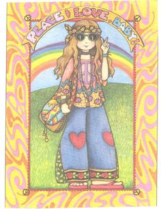 Peace Love Baby Handcrafted Hippie Fridge Magnet Art by Mary Engelbreit | eBay