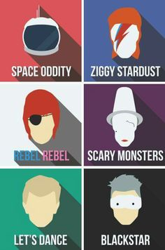 Except the top right one is NOT Ziggy Stardust, it's Aladdin Sane!