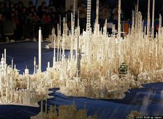 Lego Japan: The vertical white buildings were laid over the shape of the Japanese islands