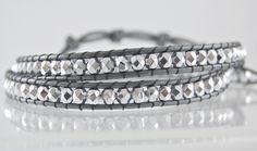 Metallic Silver Leather Beaded Bracelet   # Pin++ for Pinterest #