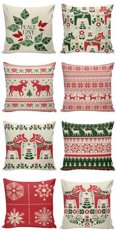 Holiday Pillow Cover Swedish Scandinavian by ElliottHeathDesigns