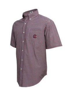 Vesi Men's South Carolina Gamecocks Short Sleeve Woven Top - W/Crim/Bk - M