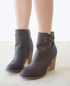 WetSeal Heeled Faux Leather Booties With Ankle Strap Found on my new favorite app Dote Shopping #DoteApp #Shopping