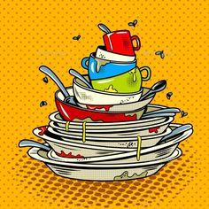 Dirty Dishes Comic Book Style Vector Illustration by AlexanderPokusay Dirty dishes comic book pop art retro style vector illustratoin Comic Book Style, Comic Books Art, Comic Art, Book Art, Indian Illustration, Pop Art Illustration, Vector Pop, Fish Vector, Desenho Pop Art