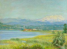 "1948 Paesaggio olio su cartone cm. 22x30 arc. 1131 Esposizione: Milano, Biblioteca ""Cassina Anna"" 2005"