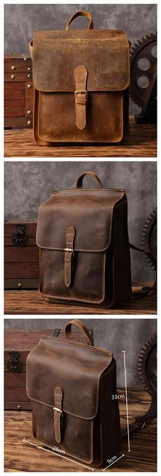 Handmade Leather Backpack Messenger Shoulder Bag Crossbody Bag Handbag for Men in Dark Brown 6963