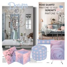 """Dream Rose Quartz & Serenity"" by nicolevalents ❤ liked on Polyvore featuring interior, interiors, interior design, home, home decor and interior decorating"
