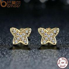 BAMOER 925 Sterling Silver Petite Butterfly Stud Earrings,