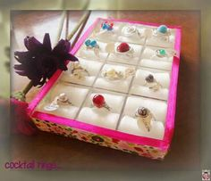 Ring display - decoupaged plastic divider box and foam