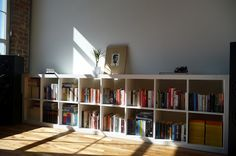 IKEA hack: Combined book shelves to create a 2x8 Expedit