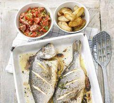 Roast whole fish with salsa romesco