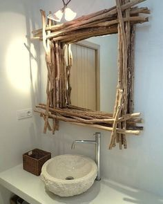 The Most Captivating Manifestations Of Driftwood Furniture That Will Win Your Heart - DIY Aspects Driftwood Furniture, Driftwood Mirror, Driftwood Crafts, Diy Furniture, Furniture Design, Wooden Decor, Wooden Diy, Rustic Bathroom Mirrors, Best Bathroom Colors