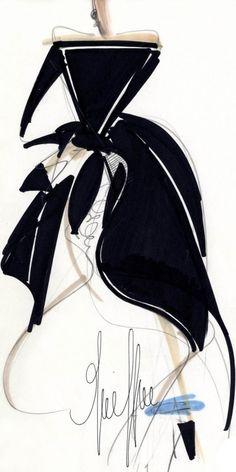 Fondazione Gianfranco Ferré / Collections / Woman / Prêt-à-Porter / 1988 / Fall / Winter Fashion Illustration Sketches, Fashion Design Sketches, Illustration Art, Sketch Fashion, Fashion Drawings, Moda Fashion, Fashion Art, Vintage Fashion, Gianfranco Ferre