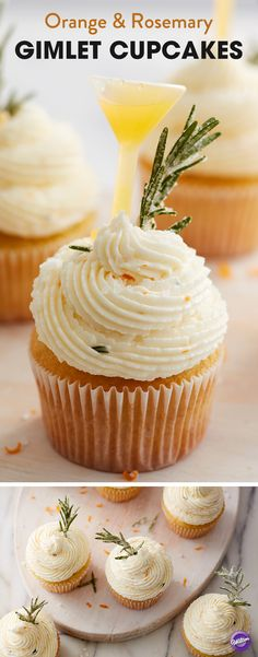 A sweet orange cake is spiked with a little gin, then topped with a sweet and savory icing that is just as tasty as it is beautiful. Garnish your cupcakes with a few sprigs of fresh rosemary and a Shot Top filled with a mixture of orange juice and gin. Squeeze the Shot Top before taking a bite for a last-minute infusion of flavor! Refreshing and bursting with seasonal flavors, this tasty cupcake would be a lovely addition to any Christmas or New Year's party.