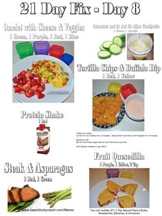 21 Day Fix 1200-1499 Calorie Meal Plan One Day of Meals & Snacks www.beachbody.com/Nteres www.facebook.com/BeachBodyRockin