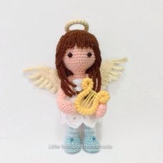 Virgo amigurumi pattern by Little Bamboo Handmade Crochet Fairy, Crochet Angels, Cute Crochet, Amigurumi Doll, Amigurumi Patterns, Crochet Patterns, Knitted Dolls, Crochet Dolls, Crochet Mignon