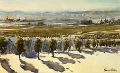 Bordaeux Vineyards, 12 x Watercolour Bordeaux, Watercolour, Vineyard, 18th, France, Landscapes, Paintings, Pen And Wash, Paisajes