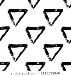Vector seamless pattern with brush stripes and triangle. Black color on white background. Drawing grange texture. Ink geometric elements. Fashion modern style. Repeat fabric backdrop ornament print.