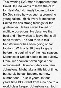 """LVG, """"De Gea wants to leave.""""  My personal rant on the news.   #MUFC #DeGea #OneLove"""