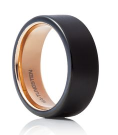 TUR 600 - 8mm Men's Tungsten Carbide Wedding Ring. Black plated with rose gold inlay.