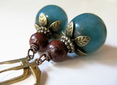 Teal and Wood Antiqued Bronze Earrings