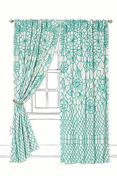 teal and white curtain from Anthropologie. Also comes in yellow and white!