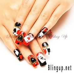 For VEGAS! :)  Japanese Nail Art Aces Blackjack Poker Nail Tip with 3D by blingup, $39.99