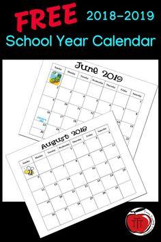 FREE 20182019 School Year Calendar is part of School calendar - FREE 20182019 School Year Calendar SpaceNursery School Teacher Freebies, Classroom Freebies, Classroom Ideas, Beginning Of School, Back To School, Starting School, School School, Kalender August, Academic Calendar
