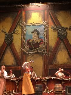 I painted this for Woods Cross High,Beauty and the Beast set, Gaston, backdrop, theatre, artist