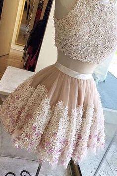 Cute homecoming dresses,Tull Prom Dress,Flower Prom Dress,Lace Appliqued Homecoming Dress,Short Prom Dresses,Two Pieces Homecoming Dresses,2 Piece Prom Dress