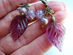 Lavender Purple Leaves Bead Dangle Earrings Doodaba by doodaba Purple Earrings, Pearl Drop Earrings, Dangle Earrings, Lavender Leaves, Tote Bags Handmade, Vintage Pink, Glass Beads, Dangles, Unique Jewelry
