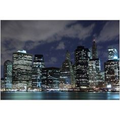Manhattan Skyline at Night, New York City III Photography by Eazl, Size: 18 x 12, White
