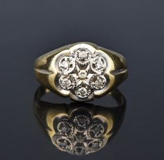 Mens Gold Kentucky Cluster Diamond Ring, Sz 10 #Ring #Gold #Mens #Cluster #Men #Art #Deco #Diamond #Vintage #Bridal