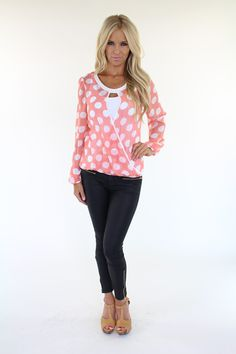 Lime Lush Boutique - Black Long Sleeve Polka Dot Print Top With Crossed Front, $39.99 (http://www.limelush.com/black-long-sleeve-polka-dot-print-top-with-crossed-front/)