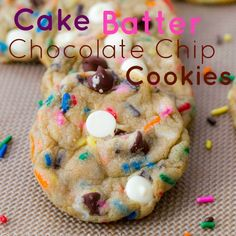 Cake batter Chocolate chip cookies!   Simply substituting some of the all-purpose flour for yellow/white or even chocolate cake mix!  Also, my change for 1 cup butter is always 1/2 cup butter-flavored Crisco & 1/2 cup (1 stick) butter!