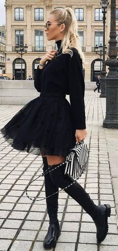 amazing black outfit / sweater + skirt + bag + over knee boots