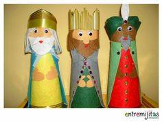 Con la visita de los Reyes Magos, se acaban las vacaciones pero esa no es excusa para dejar de reciclar. ¡Mira cómo puedes hacer tus propios Reyes con materiales reciclados!#QueBuenaIdea Christmas Gifts For Parents, Christmas Crafts For Kids To Make, Craft Projects For Kids, Christmas Decorations, Christmas Holidays, Christmas Ornaments, Imagenes My Little Pony, Toilet Paper Roll Crafts, Nativity Crafts