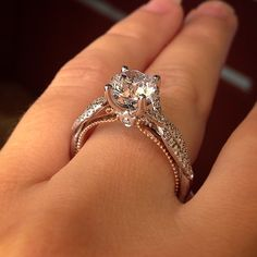 Round brilliant diamond and rose gold Verragio Couture collection at Raymond Lee Jewelers