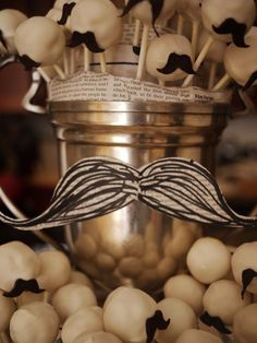 """Mustache cake pops!  I like these because I can hear them all talking with tiny British accents. """"Good day dear fellow."""" """"And a cheery morning to you my good man""""."""